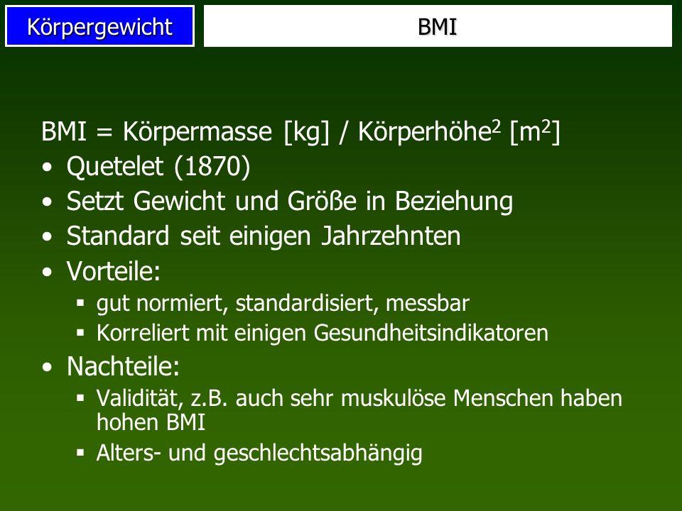 BMI = Körpermasse [kg] / Körperhöhe2 [m2] Quetelet (1870)